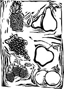 Pineapple, Pears, grapes, apple, oranges and raspberry in a woodcut style image of fruit.