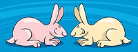 Cartoon illustration of Two Cute Bunnies