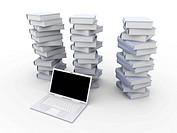 A Laptop with books. 3D rendered illustration. Isolated on white.