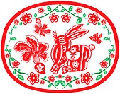 Chinese style of paper cut for year of the rabbit.