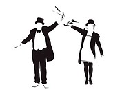 illustration of couple waving