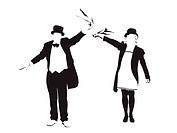 illustration of couple waving