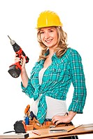 portrait of woman carpenter isolated on white background