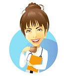 Female doctor drinking coffee