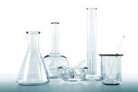 transparent glassware lab kit on white background