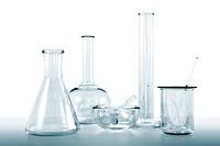 transparent glassware lab kit on white background