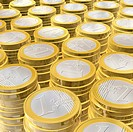 three dimensional euro coins _ illustration