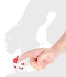 Finger touch on a future innovative transparent screen display Denmark map flag