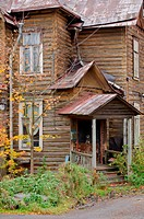 Autumn porch with a rusty roof and tree with yellow leaves.