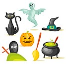 Halloween icons, vector illustration
