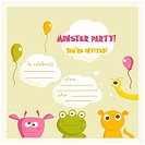 Monster Party invitation vector illustration