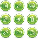 Document web icons, green glossy circle buttons series
