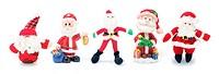 Santa Figures on White Background
