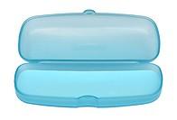 Empty sweet blue glasses box on white background.