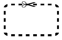 Blank coupon or voucher with cut lines around edge, isolated on white background.