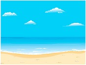 Beautiful summer vector background with beach