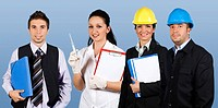 Workers with different careers smiling and standing in a line doctor female holding clipboard,business man with a blue folders,architect woman with pl...