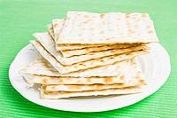 Pile of Jewish Matza bread on a plate