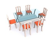 glass dining table with chairs. 3d