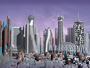 3d Model of Sci_Fi city with futuristic skyscrapers and rusty towers and domes