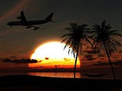 An airplane flying over a tropical beach at sunset. On the beach there are palm trees with a hammock between them.