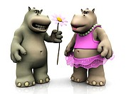 A male cartoon hippo asking for forgiveness by giving a female hippo a big flower.