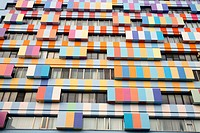 Colorful bright modern building facades