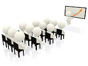 3D people in a business meeting isolated over a white background