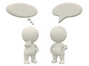 3D people with talk or thought bubbles _ isolated over a white background