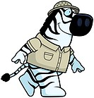 A happy cartoon zebra explorer walking and smiling.