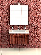 Modern bathrom with red mosaic tiles and white floor