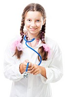 Positive teenager girl pretend to be a doctor, holding stethoscop,isolated on white