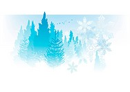 Soft and subtle snowflakes background with pine trees.