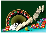 Casino elements with domino principle. Vector illustration