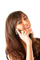 Happy brunette with mobile phone in hand