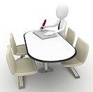 3d man sitting at the table and writing isolated on white