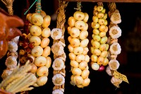 Onions in a shop. Traditional homecraft.