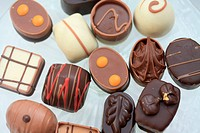 Collection of luxury Belgium Chocolates in white, milk and pure chocolate