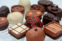Group of luxury chocolates, pure and milk