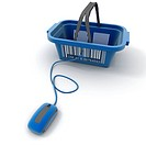 3D rendering of a shopping basket connected to a computer mouse