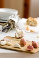 Garlic and shallots, dried herbs and white bread