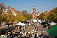 Germany, Thuringia, Gotha, People at arts and crafts market
