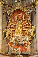 High altar with a Throne of Grace Madonna, 14th Century, Walpersbach Church, Bucklige Welt, Lower Austria, Austria, Europe