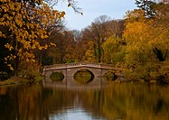 Small bridge on a river surrounded by autumn trees, Laxenburg, Lower Austria, Austria, Europe
