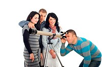 Three friends standing in embrace and waiting their turn to watching the sky with telescope while their friend man looking already through object isol...