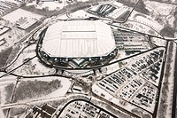 Aerial view, Schalke Arena, Veltins-Arena, before the roof was damaged by snow, Gelsenkirchen, Ruhrgebiet region, North Rhine-Westphalia, Germany, Eur...