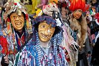 Austria, People celebrating carnival, Ebenseer Fetzenzug