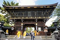Wooden gate house, temple festival, Matsuri Festival, at the Kitano Tenmangu Shrine, Kyoto, Japan, Asia