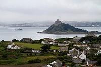 View of St. Michael's Mount island of Perranuthnoe, Cornwall, England, Great Britain, Europe