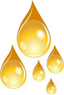 Illustration of a set of golden waterdrops
